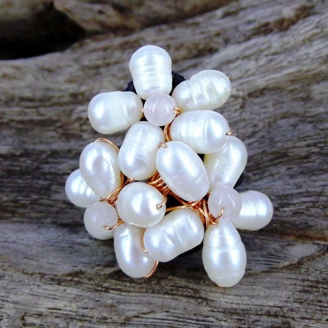 Floral Royalty Freshwater White Pearl Free Size Ring (Thailand)