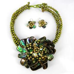 Blossoming Water Lotus Abalone Shells Jewelry Set (Thailand)