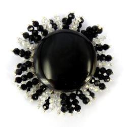 Gleaming Sun Black Agate/ Crystal Rays Brooch (Thailand)