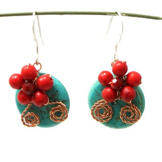 Sweet Red Daisy Bliss Turquoise Donut Earrings (Thailand)