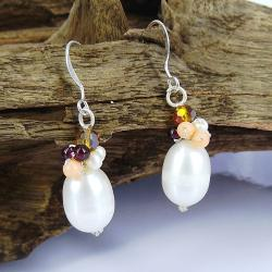 Sweet Love Freshwater White Pearl Silver Earrings (Thailand)