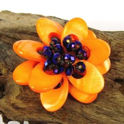 Orange Blossoms Dyed Mother of Pearl Brooch (Thailand)