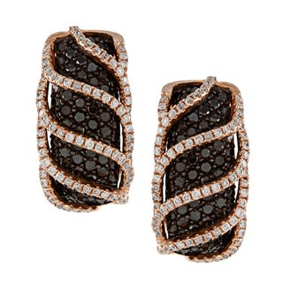 14k Rose and Black Gold 2ct TDW White and Black Diamond Earrings