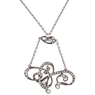 Sweet Romance Pewter Art Nouveau Crystal Lavaliere Necklace