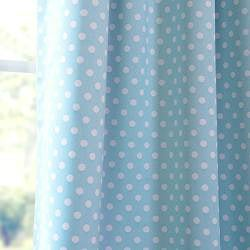Aqua Polka Dot Blackout Back-tab Pole Pocket Curtain Panel