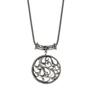 Sunstone Sterling Silver Bali Filigree Round Antiqued Necklace