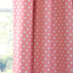 Peach Polka Dot Blackout Back-tab Pole Pocket Curtain Panel
