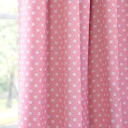 Pink Polka Dot Blackout Back-tab Pole Pocket Curtain Panel