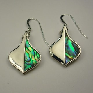 Freeform-shaped Iridescent Abalone Dangle Earrings