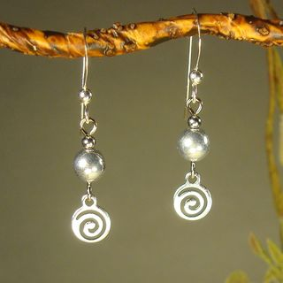 Silver With Silver Swirl Drop Earrings