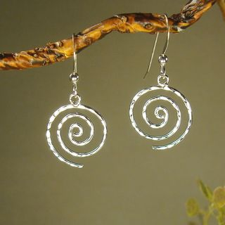 Hammered Swirl Sterling Silver Earrings