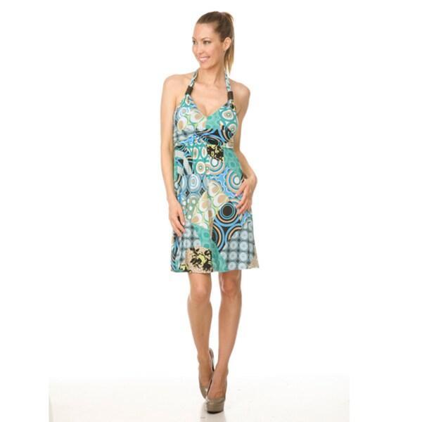 White Mark Women's 'Brisel' Aqua Halter Dress