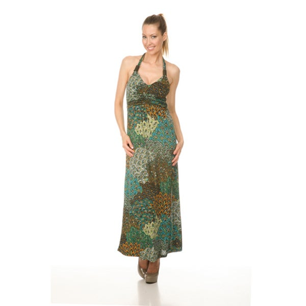 Women's `London' Green Peacock Long Halter Dress