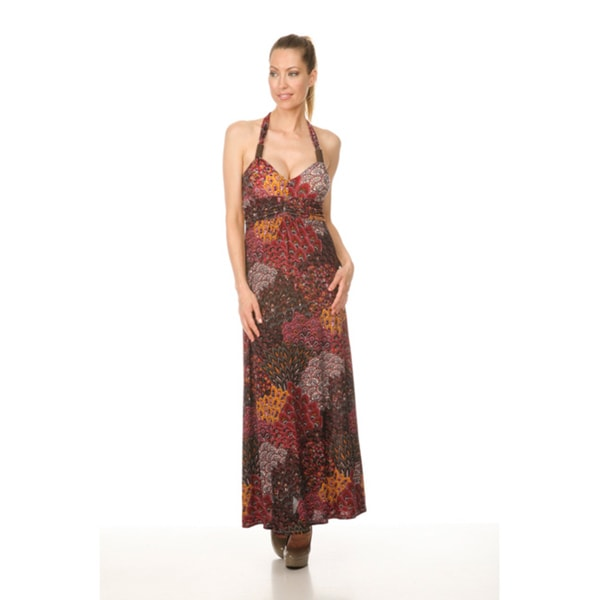Women's `London' Burgundy Peacock Long Halter Dress