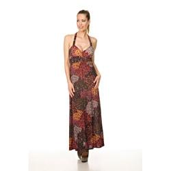 Women's `London' Burgundy Peacock Long Halter Dress