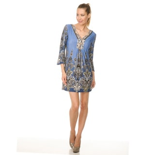 Women's 'Roma' Indian Blue Peacock Butterfly Dress
