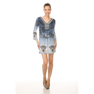 White Mark Women's 'Roma' Blue Peacock Butterfly Dress