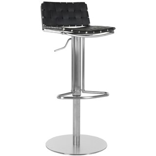 Safavieh Deco Black Leather Seat Solide Stainless Steel Base 22.8-31.9-inch Adjustable Bar Stool