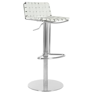 Safavieh Deco White Regenerated Leather Seat Stainless-Steel Adjustable Bar Stool