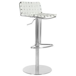 Safavieh Deco White Regenerated Leather Seat Stainless-Steel Adjustable Bar Stool
