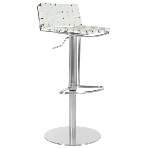 Safavieh 22.8-31.9-inch Deco White Leather Seat Stainless Steel Adjustable Bar Stool