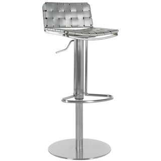 Safavieh Modern Art Deco Gray Leather-Seat Stainless-Steel Adjustable Bar Stool
