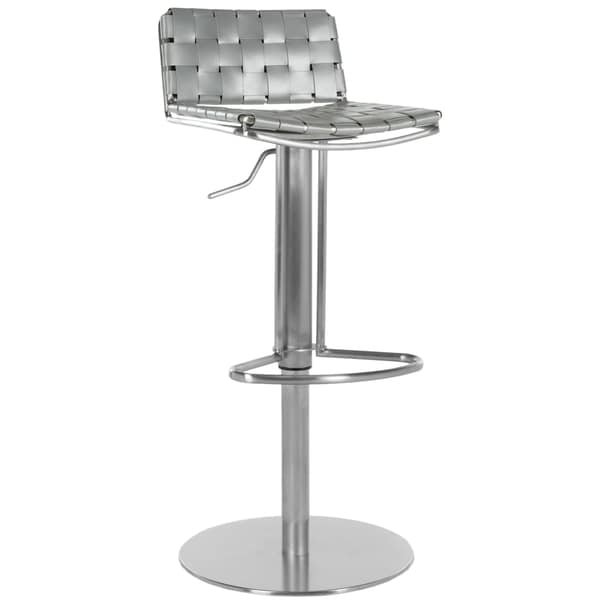 Safavieh Modern Art Deco Grey Leather-Seat Stainless Steel 22.8-31.9-inch Adjustable Bar Stool