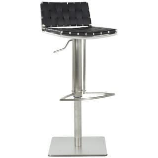 Safavieh Deco Black Classy Leather Seat Stainless-Steel Adjustable Bar Stool