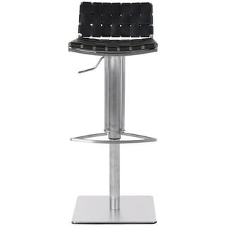 "Safavieh Mitchell Black Leather Seat Stainless-Steel Adjustable 22-31-inch Modern Bar Stool - 18.5"" x 15.4"" x 29.5"""