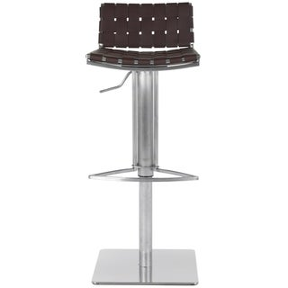 """Safavieh Mitchell Brown Leather Seat Stainless-Steel Adjustable 22-31-inch Modern Bar Stool - 18.5"""" x 15.4"""" x 29.5"""""""