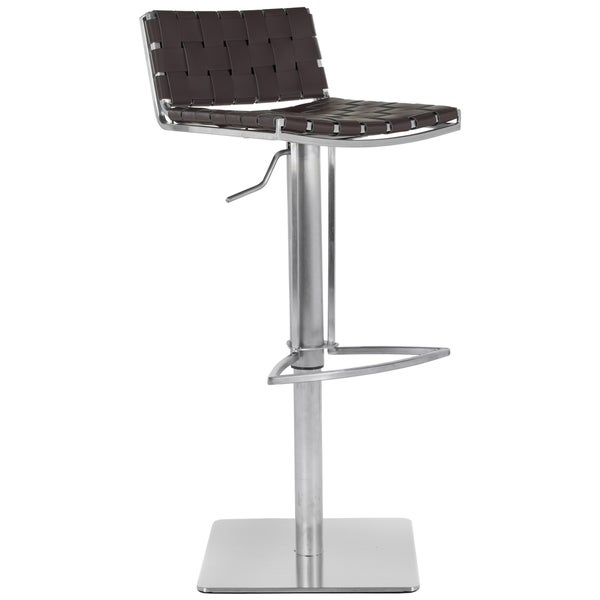 Safavieh Mitchell Gas Lift Brown Leather Seat Stainless Steel Adjustable Bar Stool