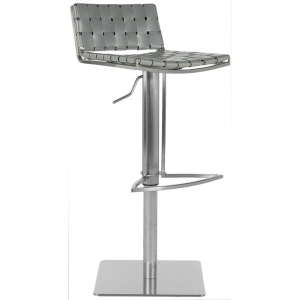 Safavieh Mitchell Gas Lift Grey Leather Seat Stainless Steel Adjustable Bar Stool