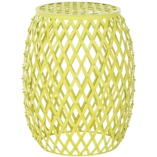 Safavieh Steelworks Stripes Yellow Matte Iron Stool