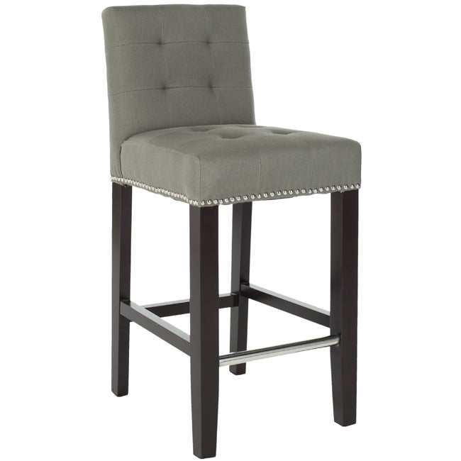 Counter Height Nailhead Chairs : Safavieh Noho Grey Linen Nailhead Trim 25.8-inch Counter Stool ...