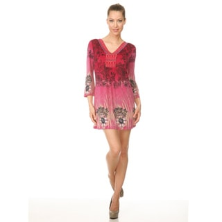 White Mark Women's 'Roma' Pink Peacock Butterfly Dress