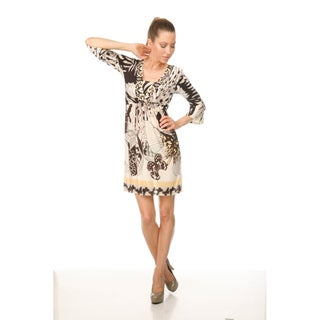 Women's `Venezia' Coffee/Butterfly Peacock Dress