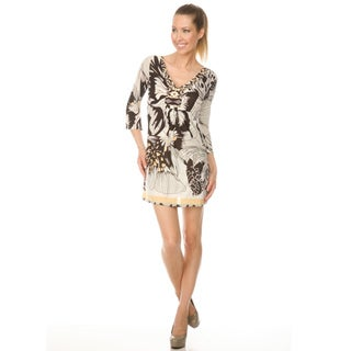 White Mark Women's `Florence' Coffee/Butterfly Peacock Dress