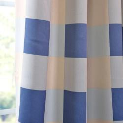 EFF Harbor Mist Plaid Blackout Back-tab Pole Pocket Curtain Panel