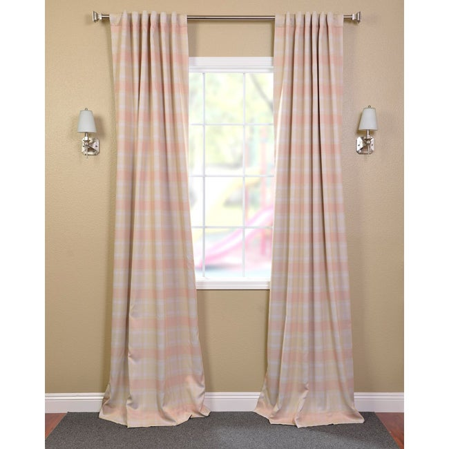 Exclusive Fabrics Peaches 'n Cream Blackout Back-tab Pole Pocket Curtain Panel Pair