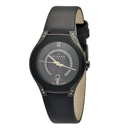 Skagen Women's Black Label Leather Strap Watch
