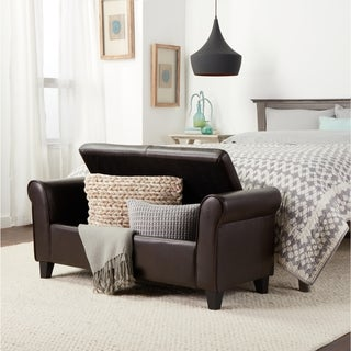 Abbyson Living Hartford Dark Brown Faux Leather Storage Ottoman