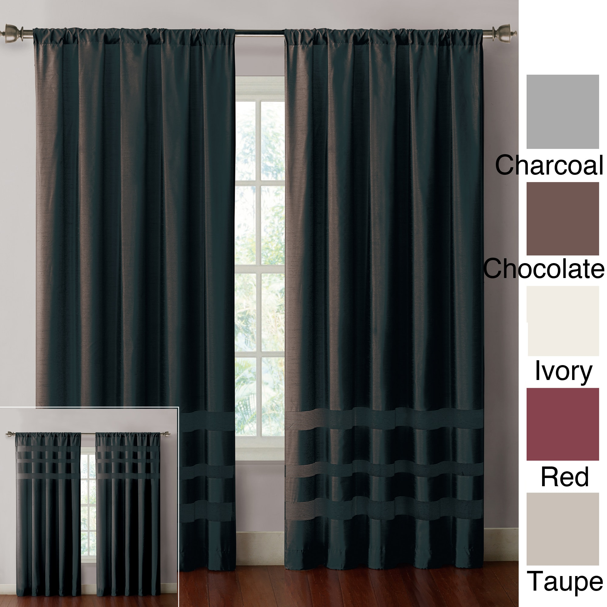 VCNY Maddox Faux Silk with Chenille Bands 84-inch Curtain Panel