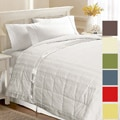 Beauty Stripe White-down-filled Damask-weave Blanket