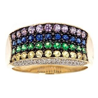 D'Yach 14k Gold Multi-gemstone and 3/8ct TDW Diamond Ring (G-H, I1-I2)