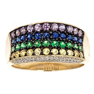D'Yach 14k Gold Multi-gemstone and 3/8ct TDW Diamond Ring (G-H, I1-I2)