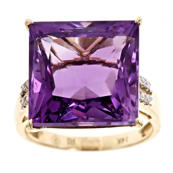 D'Yach 14k Yellow Gold Amethyst and 1/10ct TDW Diamond Ring (G-H, I1-I2)