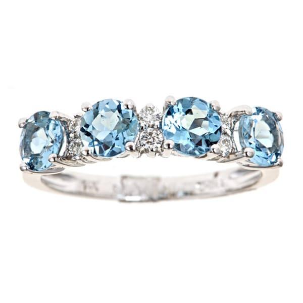 Anika and August 14k Gold Aquamarine and 1/8ct TDW Diamond Ring (G-H, I1-I2)