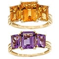 D'Yach 14k Yellow Gold Amethyst or Citrine 3-stone Ring
