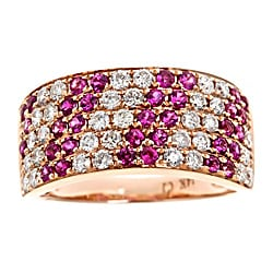D'Yach 14k Rose Gold Thai Ruby and 3/4ct TDW Diamond Band (G-H, I1-I2)