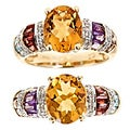 D'Yach 14k Gold Citrine, Tourmaline and 1/6ct TDW Diamond Ring (G-H, I1-I2)